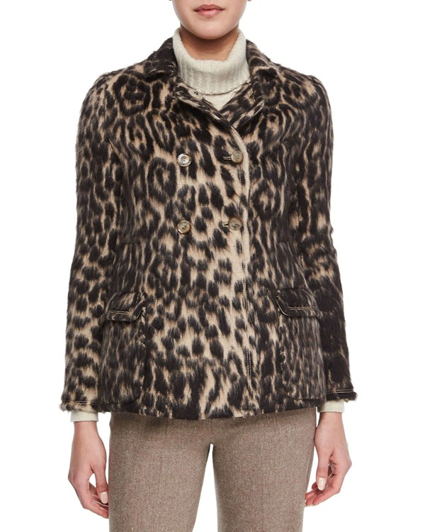 Carolina Herrera леопардовое пальто-бушлат 2015