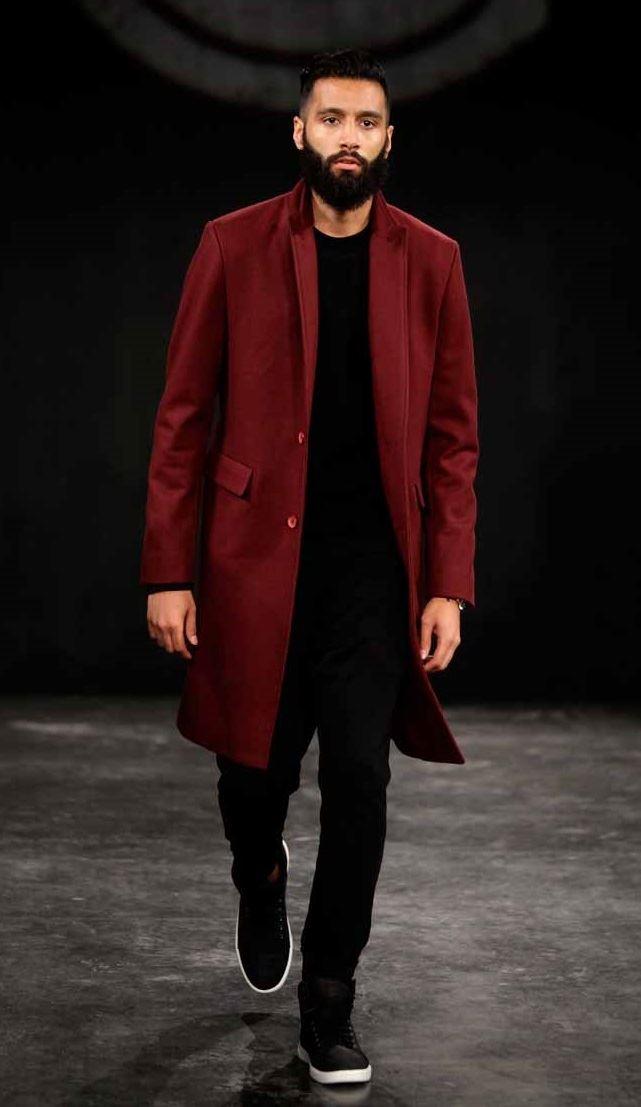 Grungy Gentleman классическое бордовое мужское пальто весна-лето 2015