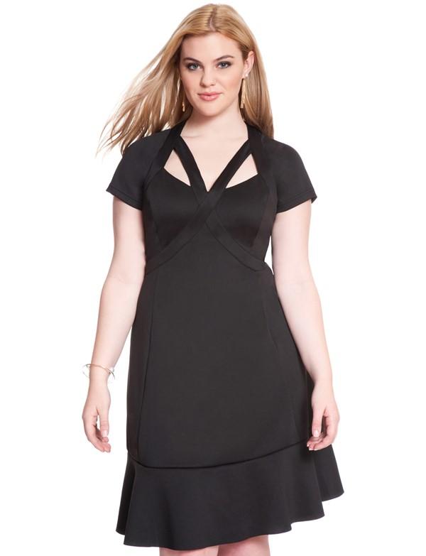 черное короткое коктейльное платье для полных 2015