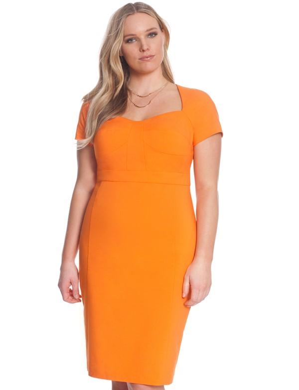 оранжевое коктейльное платье футляр для полных 2015