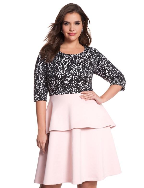 черно-розовое короткое коктейльное платье для полных 2015