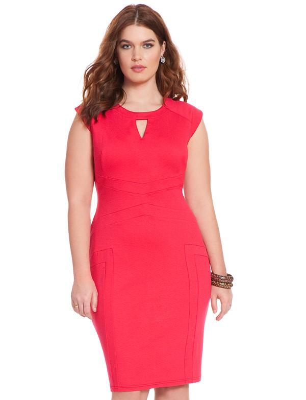 красное короткое коктейльное платье футляр для полных 2015