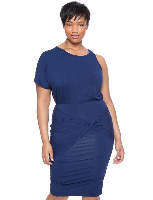 синее короткое коктейльное платье для полных 2015