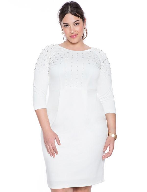 белое короткое платье для полных с длинным рукавом  2015