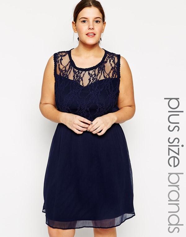 синее кружевное короткое коктейльное платье для полных 2015