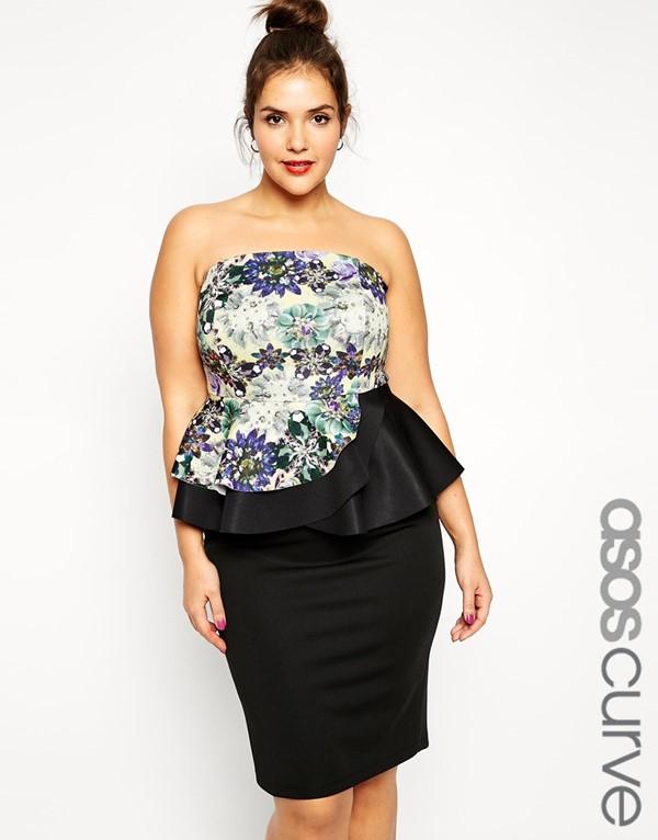 короткое коктейльное платье бюстье с баской для полных 2015
