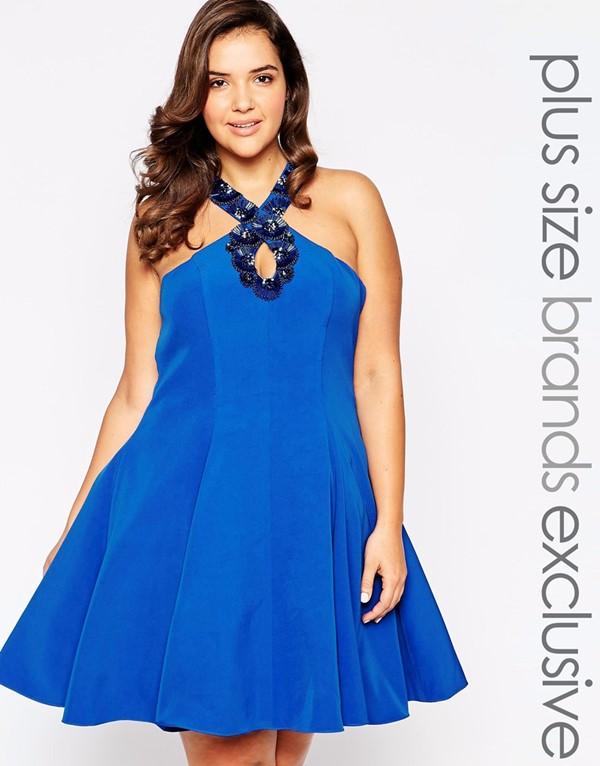 синее короткое коктейльное платье трапеция для полных 2015