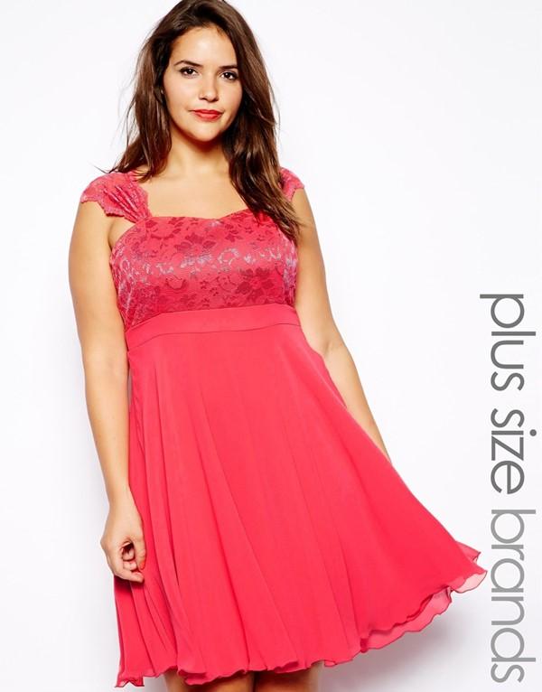 короткое коктейльное платье для полных с завышенной талией  2015