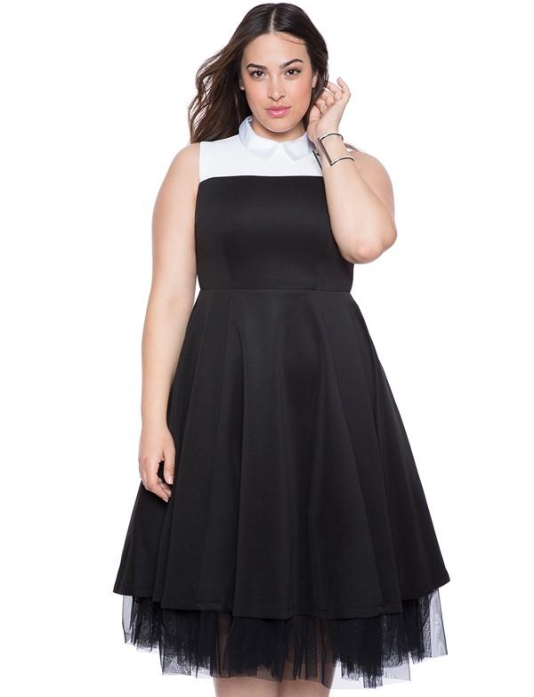 черно-белое короткое коктейльное платье для полных 2015