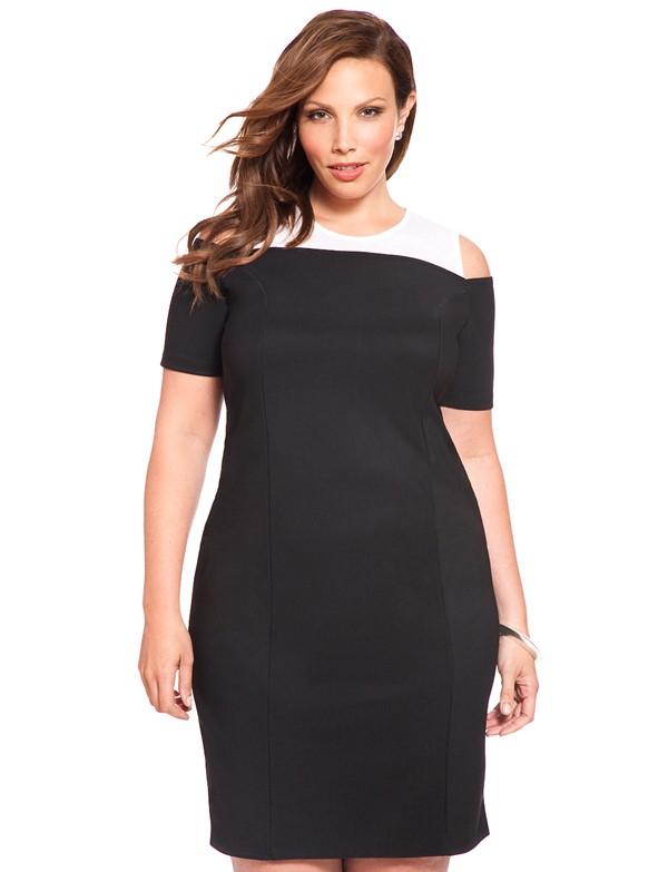 облегающее черное короткое коктейльное платье для полных 2015
