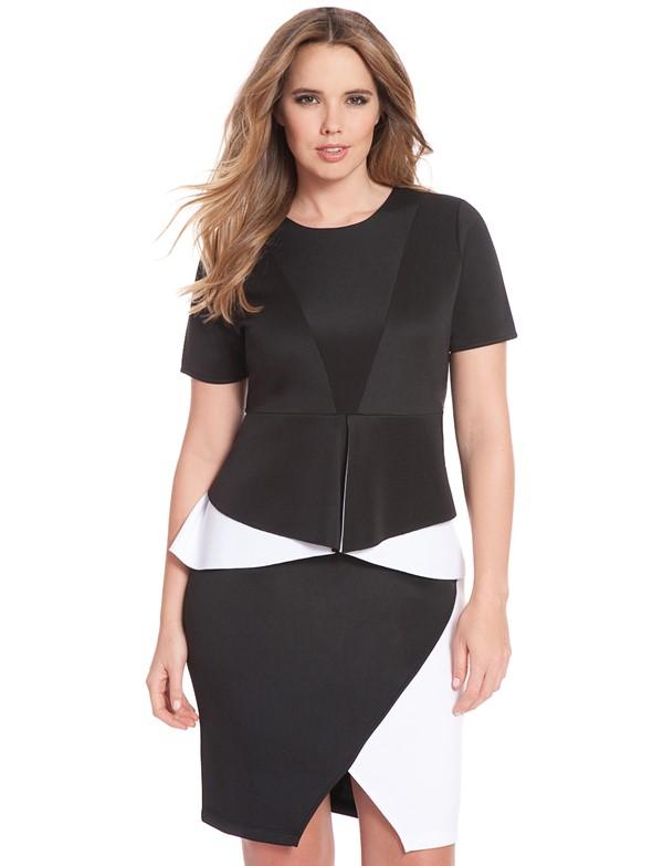 короткое коктейльное платье для полных с коротким рукавом 2015