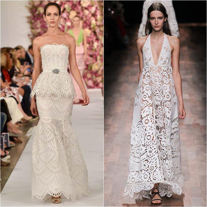 кружевные платья 2015 Oscar de la Renta и Valentino