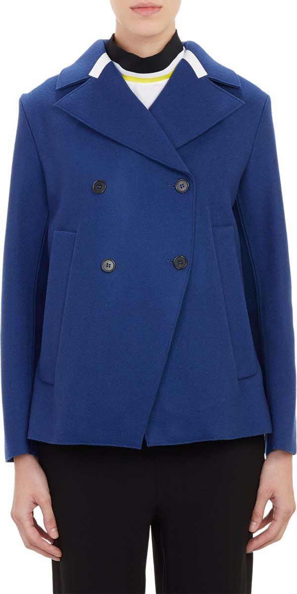 Marni синее асимметричное пальто-бушлат 2015