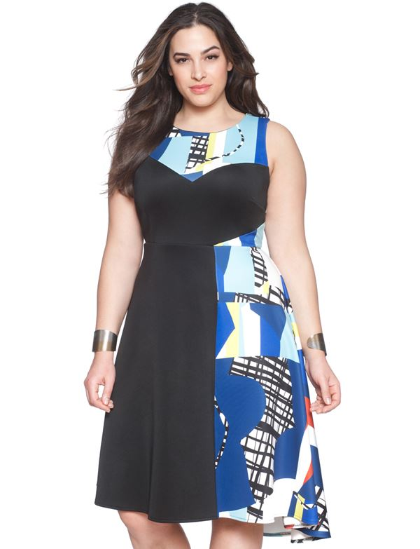 приталенное платье для полных женщин 2015