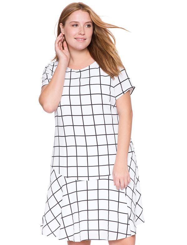 платье в клетку для полных женщин 2015
