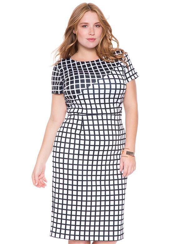 клетчатое платье для полных женщин 2015