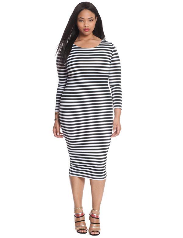 полосатое платье миди для полных женщин 2015