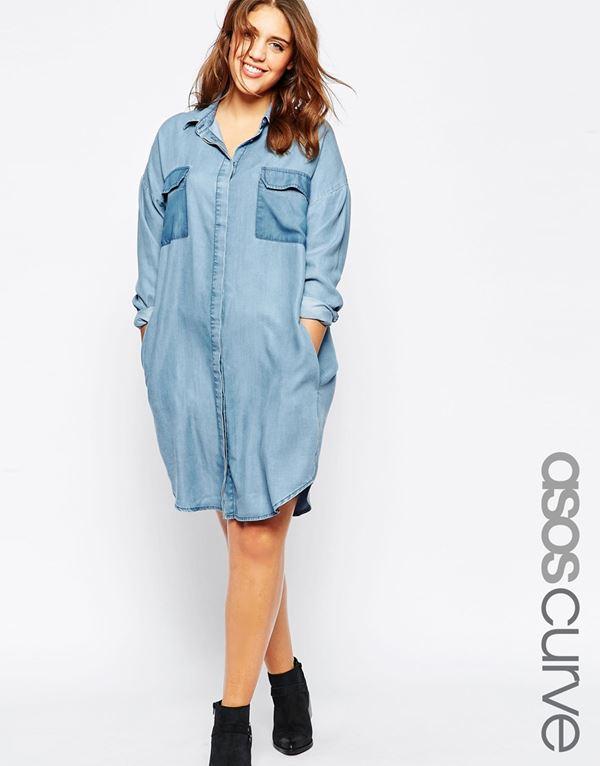 джинсовое платье-рубашка для полных женщин 2015