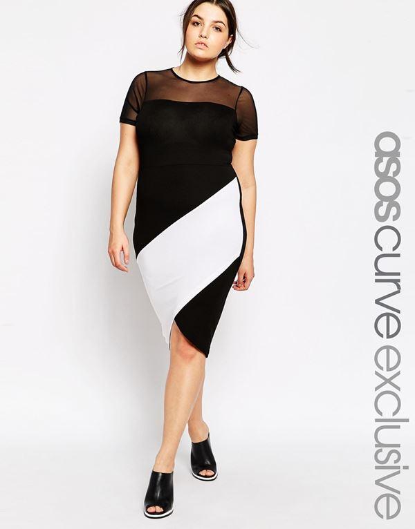 черно-белое платье для полных женщин 2015