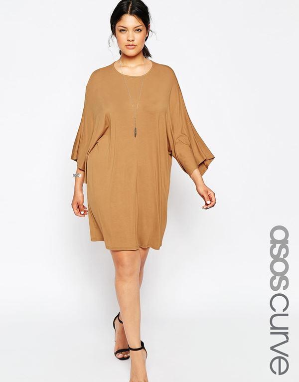 короткое трикотажное платье для полных женщин 2015