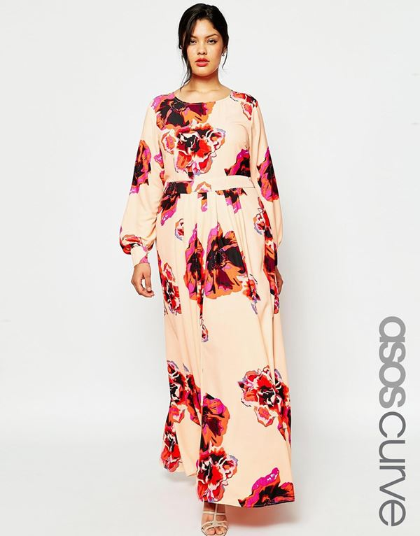 длинное цветочное платье для полных женщин 2015