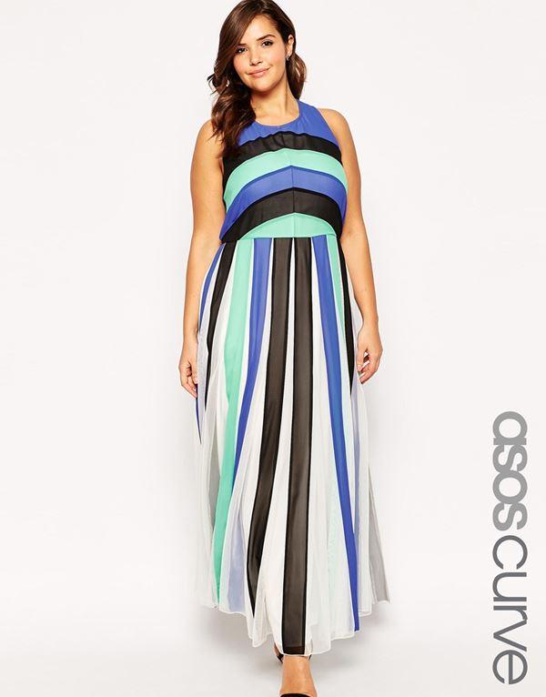 длинное полосатое платье для полных женщин 2015