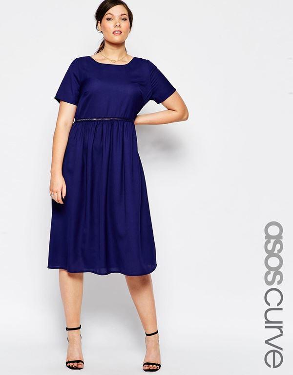темно-синее платье для полных женщин 2015