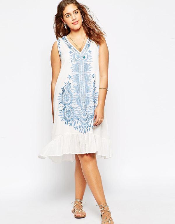 короткое платье для полных женщин 2015 с оборками
