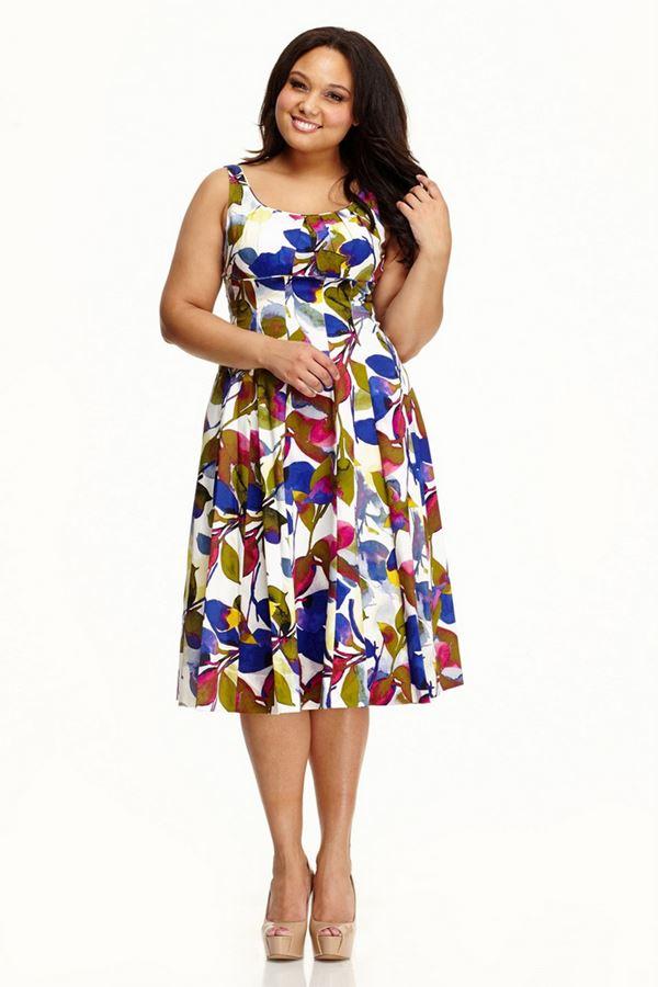 цветочное платье ретро для полных женщин 2015