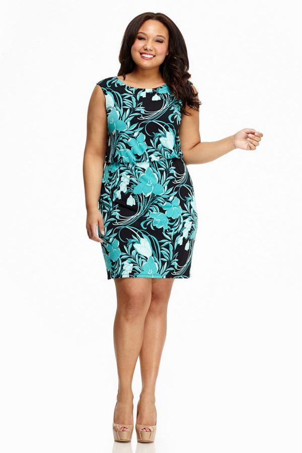 короткое бирюзовое платье для полных женщин 2015