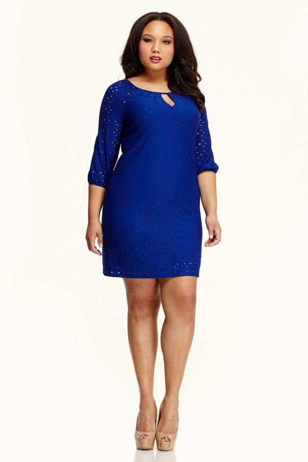 короткое синее платье для полных женщин 2015