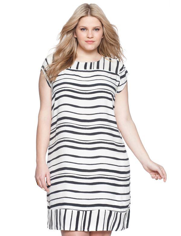 короткое широкое платье в полоску для полных женщин 2015