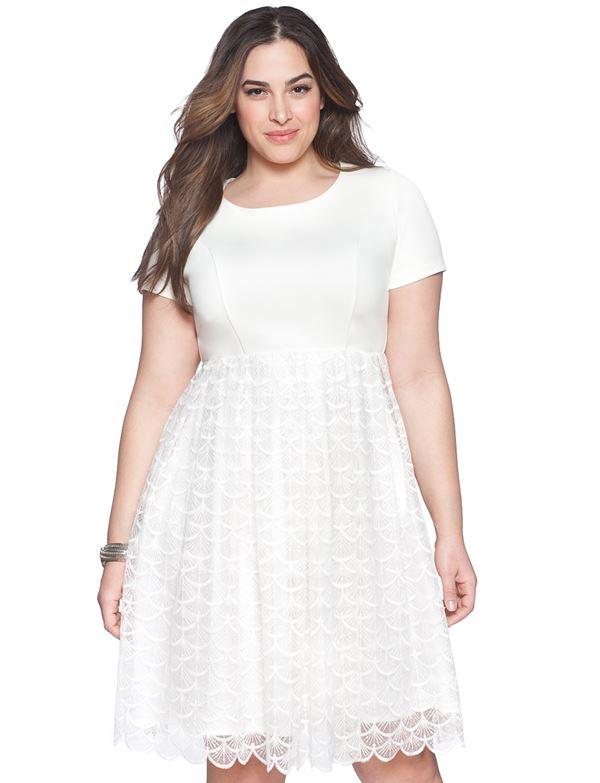 белое короткое кружевное платье для полных женщин 2015