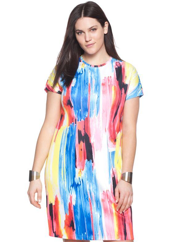 короткое платье с ярким принтом для полных женщин 2015