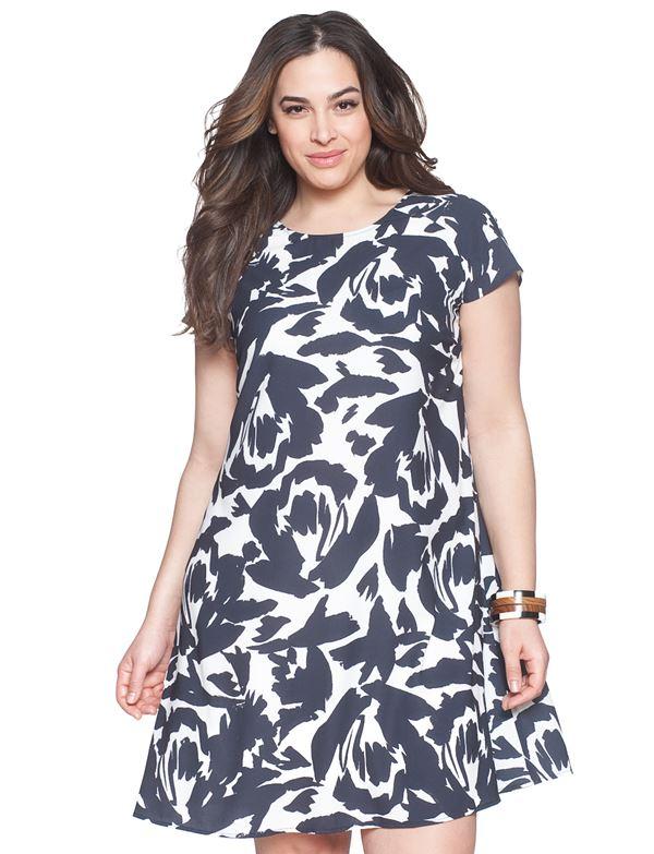 короткое черно-белое платье для полных женщин 2015