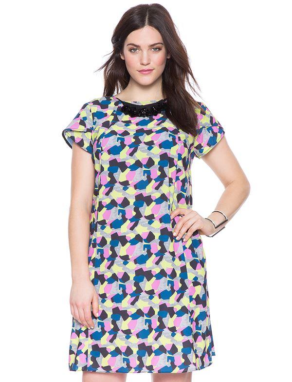 короткое платье с принтом для полных женщин 2015