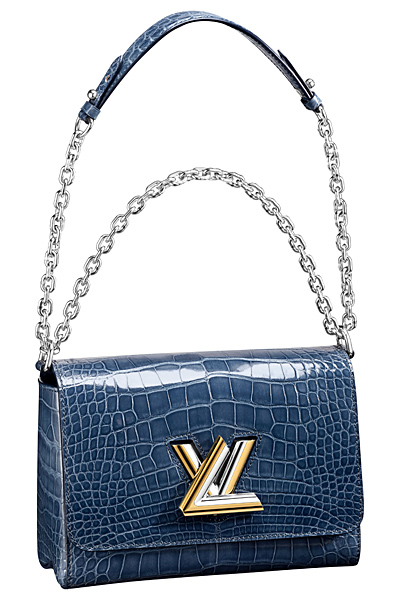 синяя крокодиловая сумка louis vuitton twist bag весна лето 2015