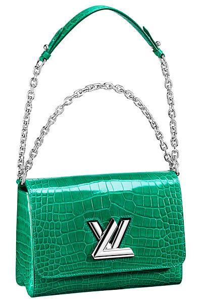 зеленая крокодиловая сумка louis vuitton twist bag весна лето 2015