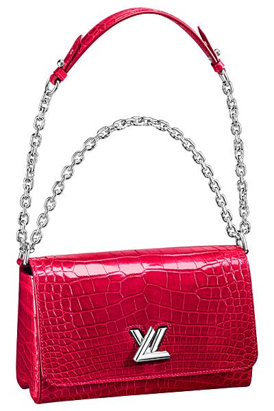красная крокодиловая сумка louis vuitton twist bag весна лето 2015