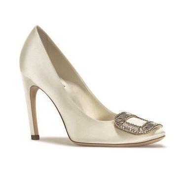 свадебные туфли на каблуке с пряжкой  roger vivier 2015