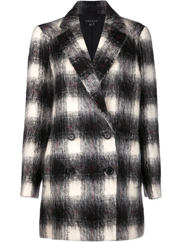 Theory длинное клетчатое пальто-бушлат 2015