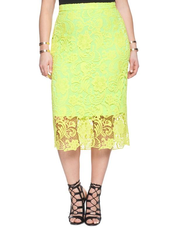 желтая кружевная юбка для полных 2015