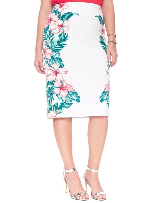цветочная юбка-карандаш  для полных 2015