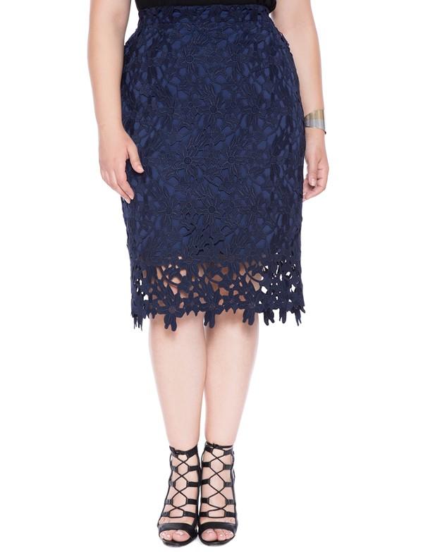 темно-синяя кружевная юбка для полных 2015