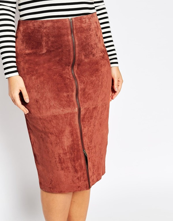 замшевая юбка-карандаш  для полных 2015
