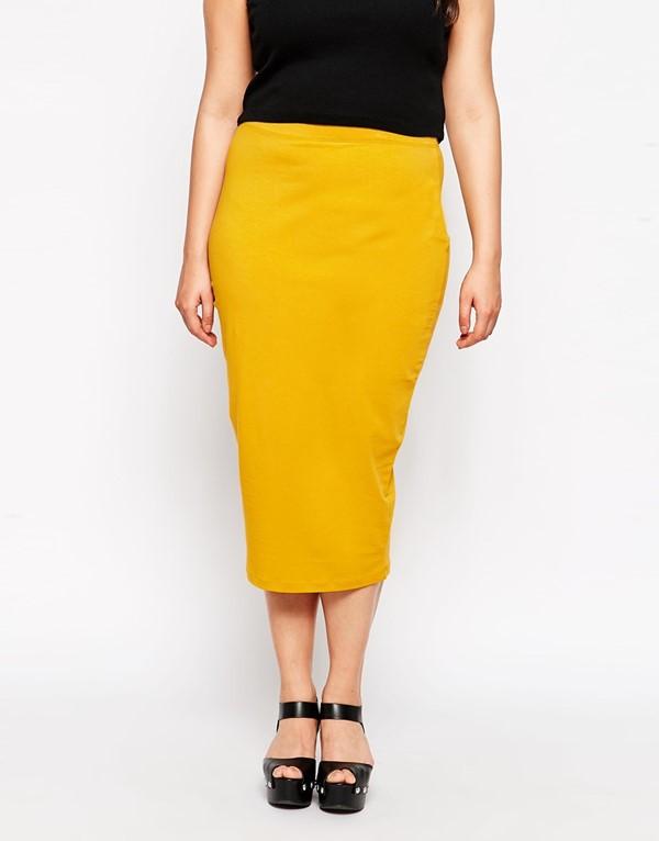 желтая юбка-карандаш миди  для полных 2015