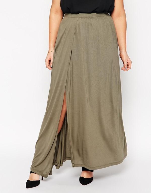 длинная трикотажная юбка для полных 2015
