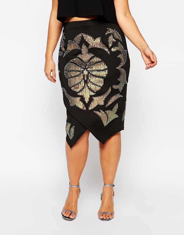 асимметричная юбка-карандаш  для полных 2015