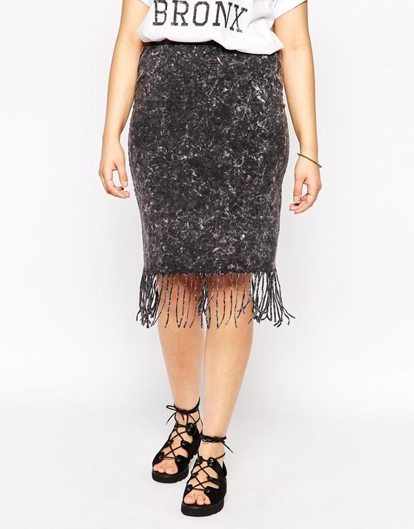 юбка-карандаш с бахромой для полных 2015