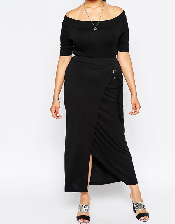 длинная асимметричная юбка с запахом для полных 2015